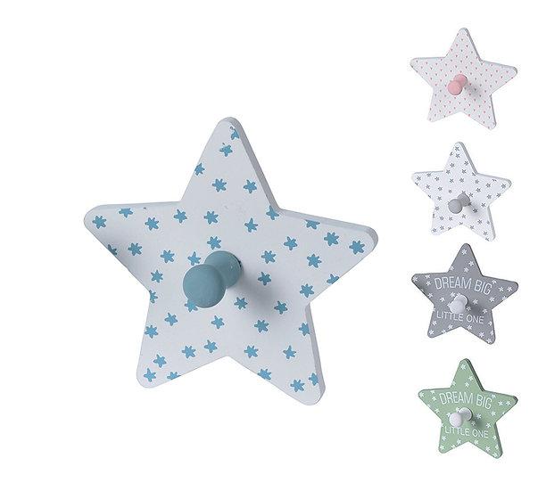 Ξύλινος γαντζος τοίχου, σχ.αστέρι, διαφ.χρώματα,12,5cm | ZAROS