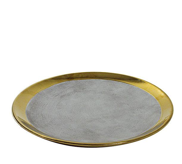 Κεραμική πιατέλα επίχρυση με υφή τσιμεντοκονίας, 35cm | ZAROS