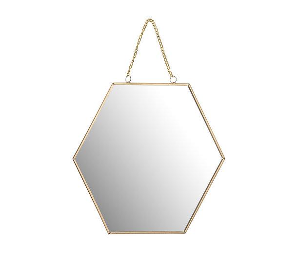 Διακοσμ.καθρέπτης με αλυσίδα,εξάγωνο σχ.,χρυσός 30cm | ZAROS