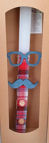 Χειροποίητη αρωματική λαμπάδα γυαλιά μουστάκι
