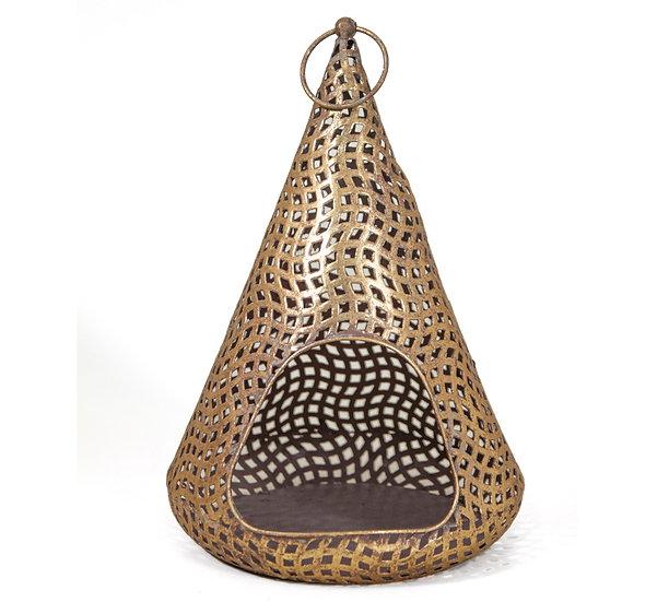 Κωνικό μεταλ/κο φανάρι με τρύπες,χρυσό,36cm | ZAROS