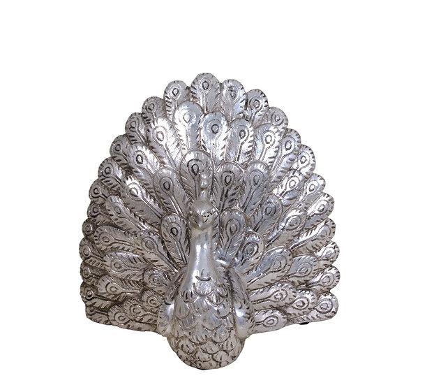 Κεραμικό επιτραπέζιο διακοσμητικό παγώνι,ασημί,25cm | ZAROS