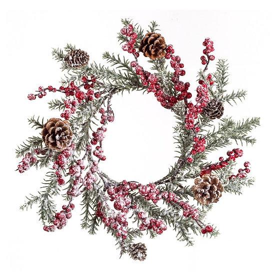 Χιονισμένο στεφάνι (P.E) berries & κουκουναρια 45cm   ZAROS