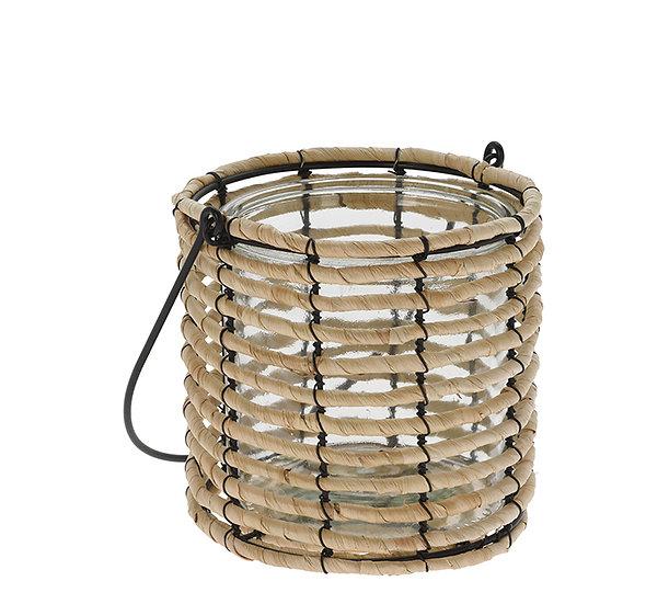 Γυάλινο φανάρι με ψάθινη επένδυση & χερούλι,20cm | ZAROS