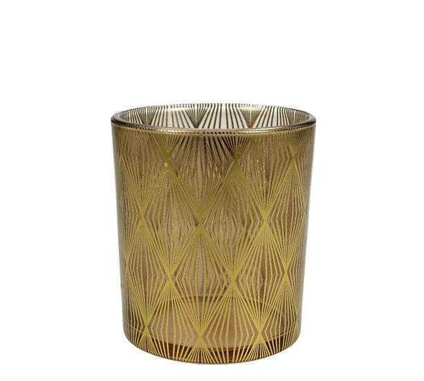 Γυάλινο κηροπ/γιο ποτήρι γεωμετρικό σχ. μελί/χρυσό 10cm | ZAROS