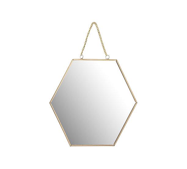 Διακοσμ.καθρέπτης με αλυσίδα,εξάγωνο σχ.,χρυσός 25cm | ZAROS