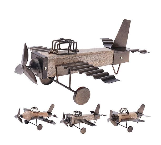 Διακοσμητικό αεροπλάνο από ξύλο & μέταλλο,26cm | ZAROS