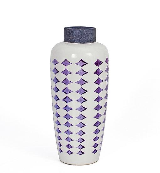 Κεραμικό βάζο με ρετρό Λιλά μοτίφ 28,5cm | ZAROS