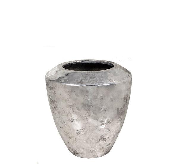 Κεραμικό σφυρήλατο βάζο, ασημί, 22cm | ZAROS