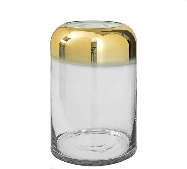 Γυάλινο βάζο κύλινδρος με ντεγκραντέ χρυσή επίστρωση, 27cm | ZAROS