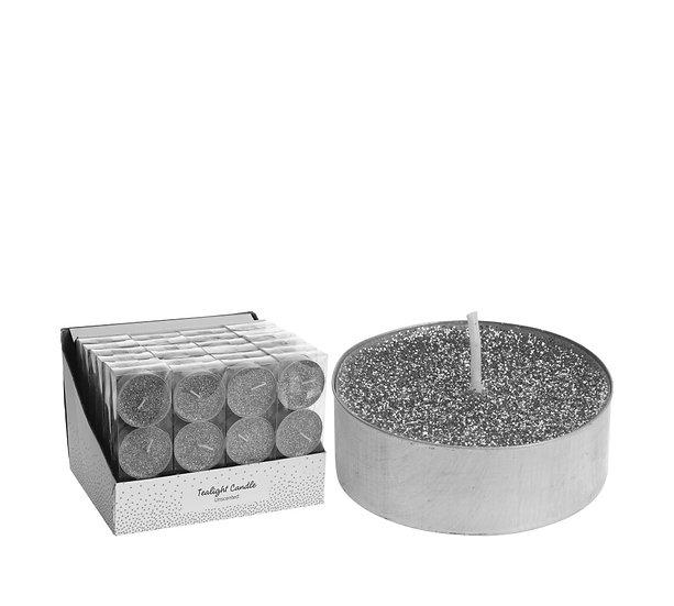 Σ/3 μεγάλο κερί ρεσό 6cm, ασημί glitter. | ZAROS