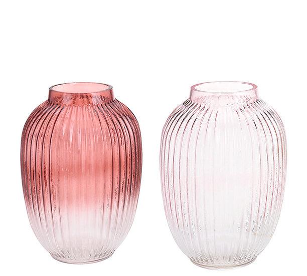 Γυαλινο βαζο ριγε, 2χρ. (βυσσινι,ροζ),18x24.5cm | ZAROS