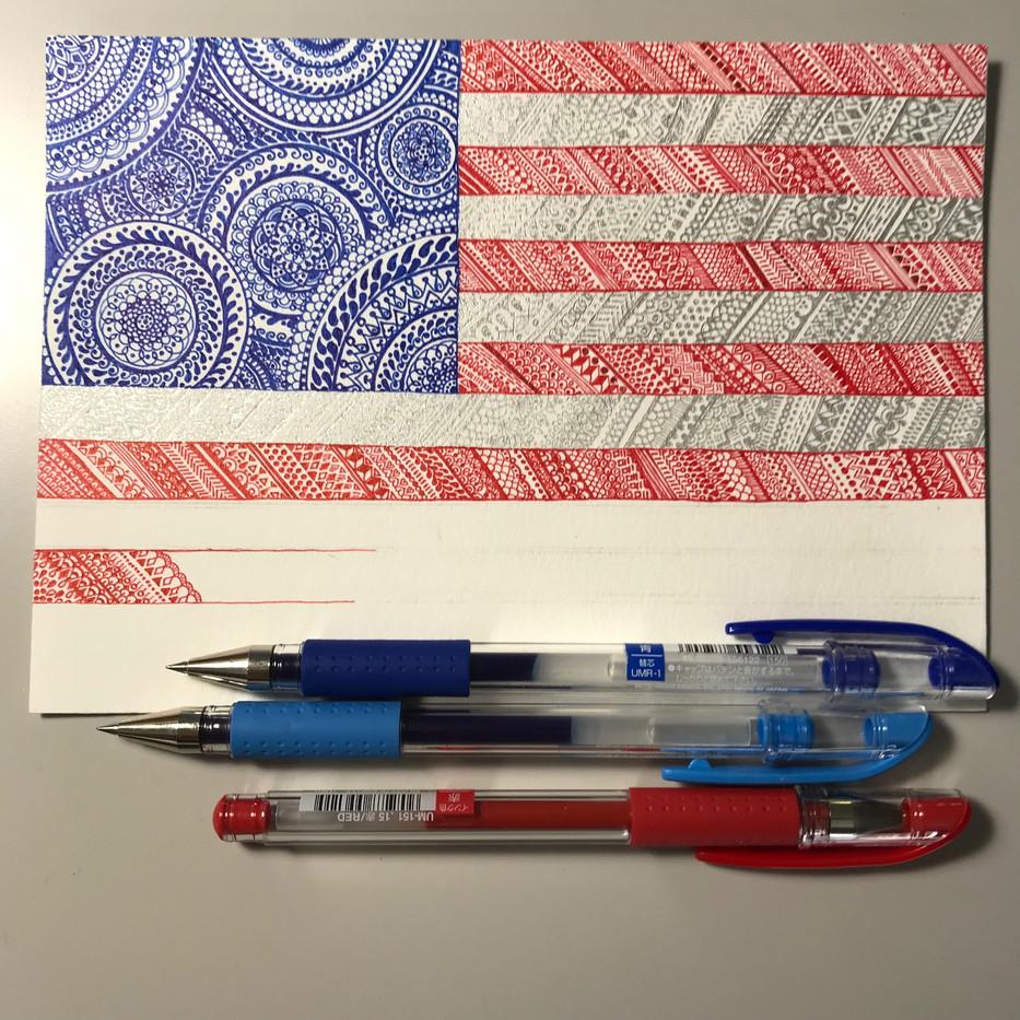 American Flag under construction