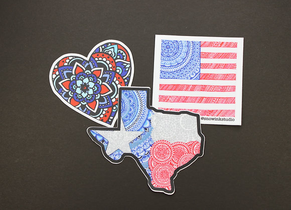 Red White and Blue Stickers!