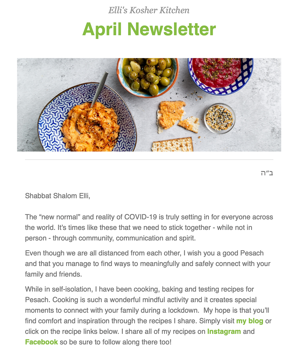 Ellis Kosher Kitchen April Newsletter