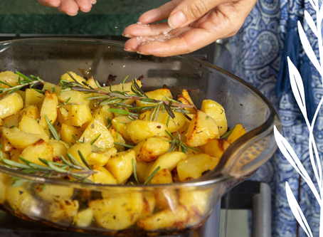 Crispy, lemony oven roasted potatoes