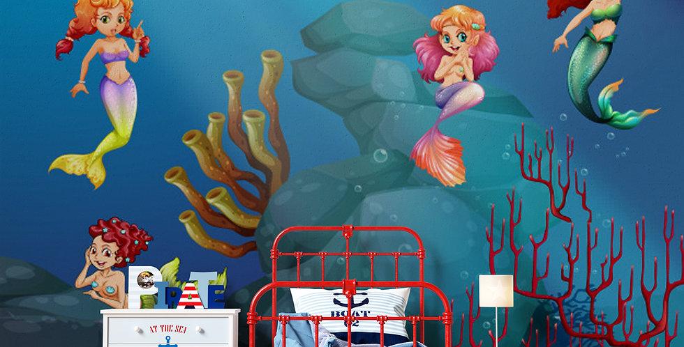 Childrens' Mermaid Wallpaper