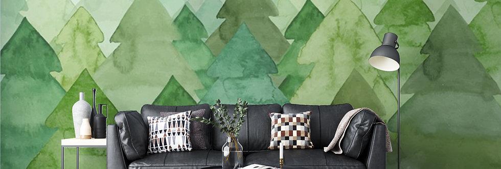 Green Forest Watercolour Wallpaper