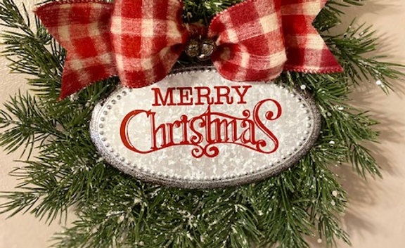 "Clayton Street 10"" Flocked Merry Christmas Wreath"
