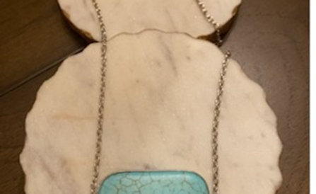 """Clayton Street Natural Turquoise Stone Chain on 18"""" Chain"""