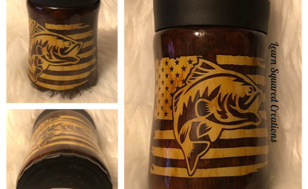 Learn Squared 12 oz Fish/Flag Bottle/Can Koozie