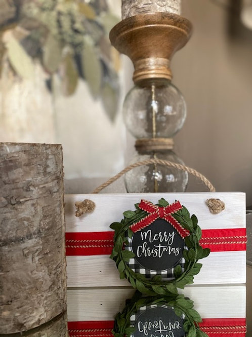 """Clayton Street 4x8"""" Merry Christmas Wooden Sign"""