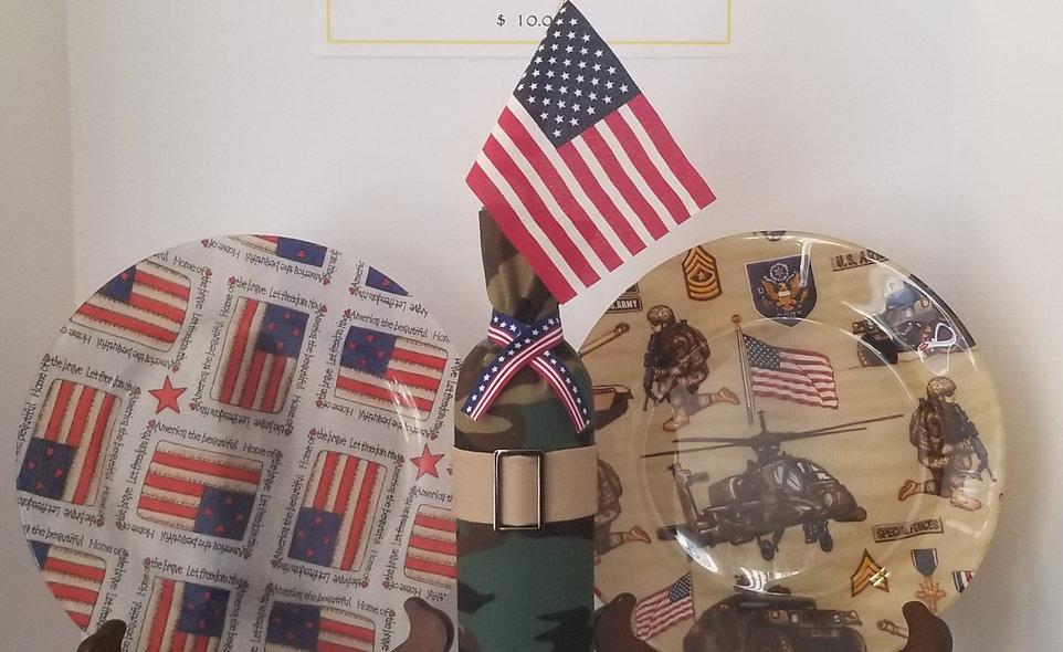 B-Stone Patriotic Decorative Plates and Wine Bottle