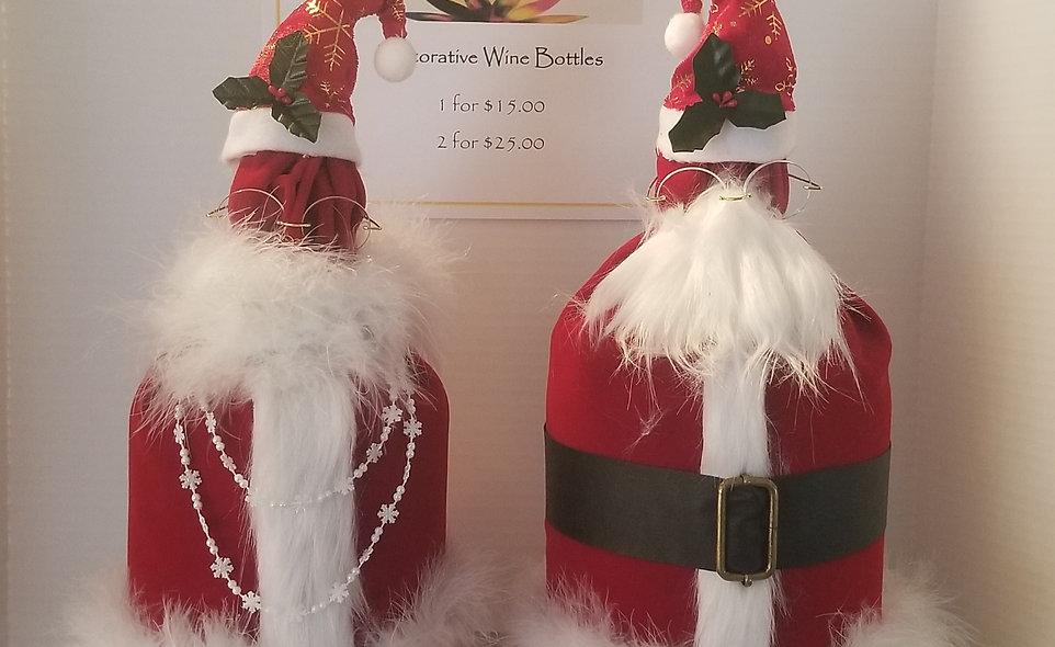 B-Stone Santa and Mrs. Claus Decorative Wine Bottles