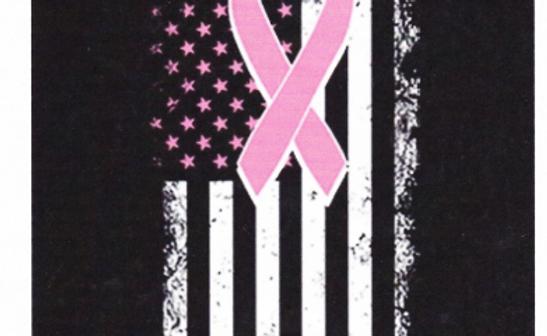 DAV Cancer Ribbon on Flag Tee