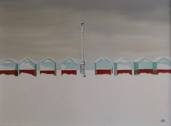 Beach Huts in the Snow I