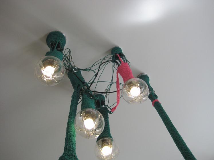 Green-pink sock lamp