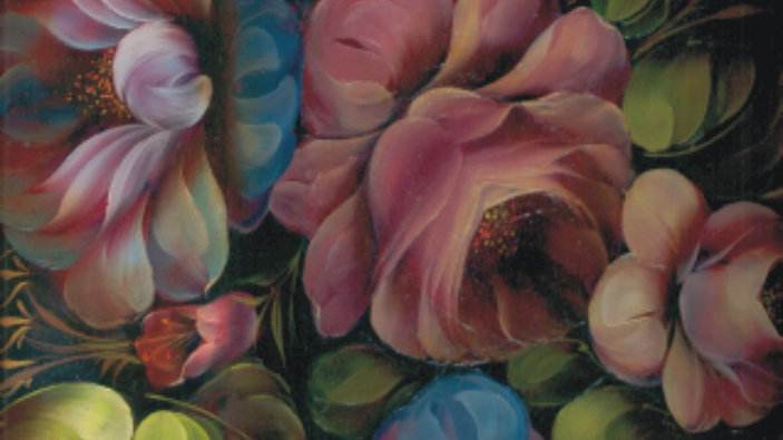 023 Roses on Rectangular Tray Oils