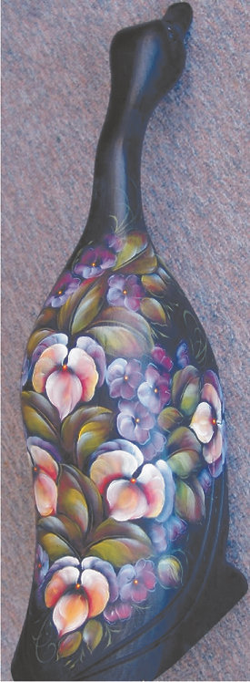 132 Pansies on carved duck English or Eng/French