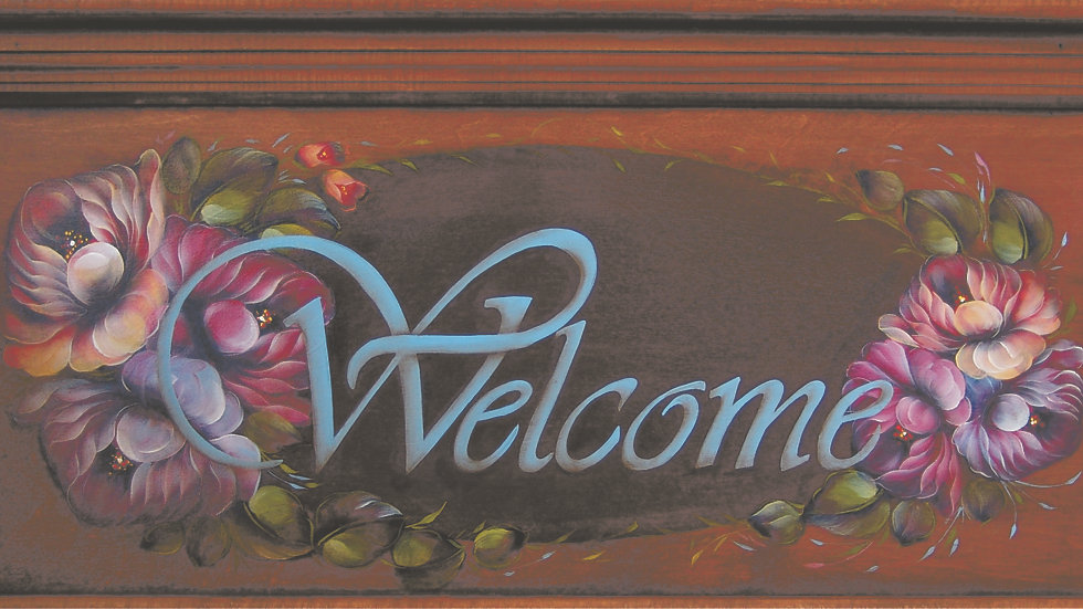 141 Welcome sign in acrylics