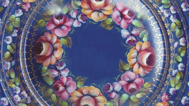 82 Roses on Blue Bowl, Eng. & French