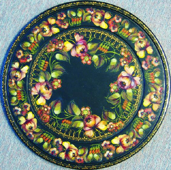 53 Floral Trim lg black tray
