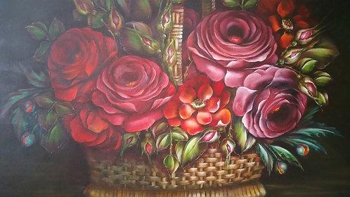 Floral Basket on Canvas