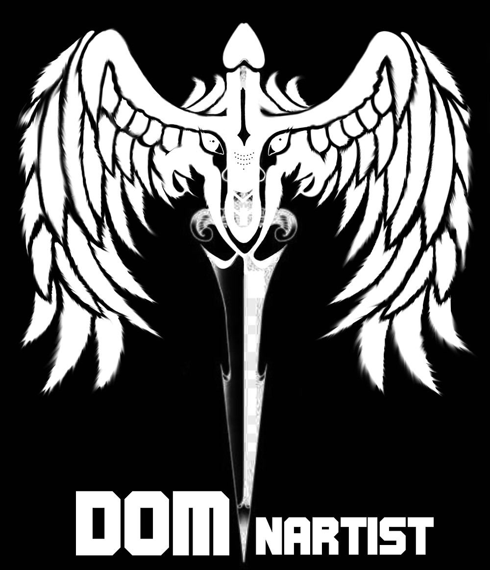 the Dominartist logo, black and white wings on penis head and stiletto knife