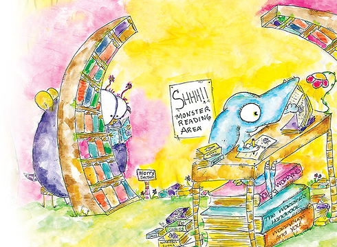 WorryWoo book illustration, Wince at the Library.