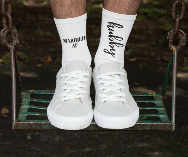 Hubby, Married AF Socks for Groom/Husband