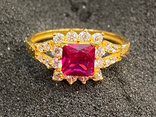 Design 41 22ct Gold Ring Red Stone