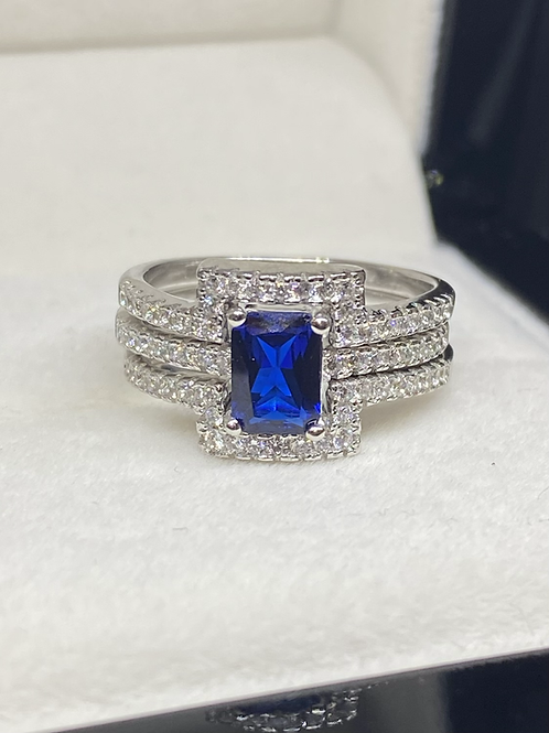 Design 57 Solid Silver 3 Band Blue Stone Wedding & Engagement Ring