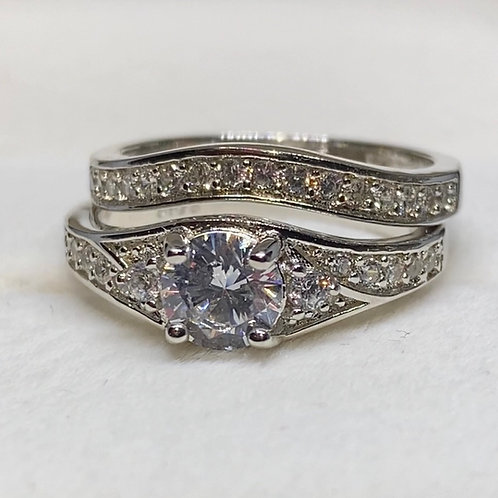 Silver Engagement Ring Double Band Design 77