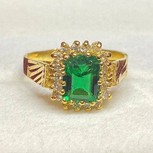 Design 44 Green Stone 22ct Gold Ring