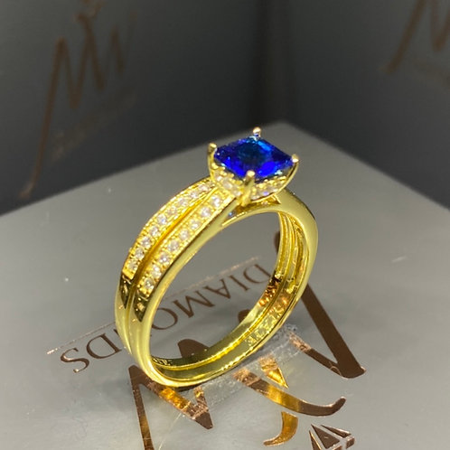 Double Band 14carat Gold Plated Blue Princess Cut Design 51