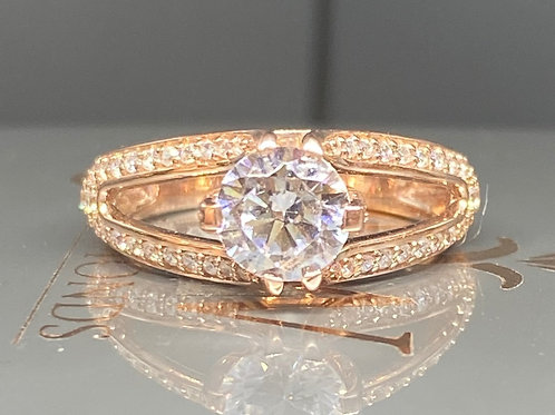 ROSE GOLD SOLITAIRE EXPANDED STUDDED SHOULDERS