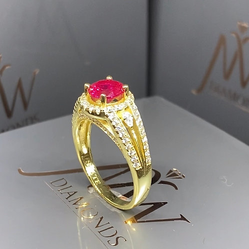 14k Gold Plated Ring Red Round Stone
