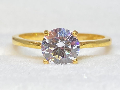 22CT GOLD CLEAR STONE SOLID SOLITAIRE Simple Elegant