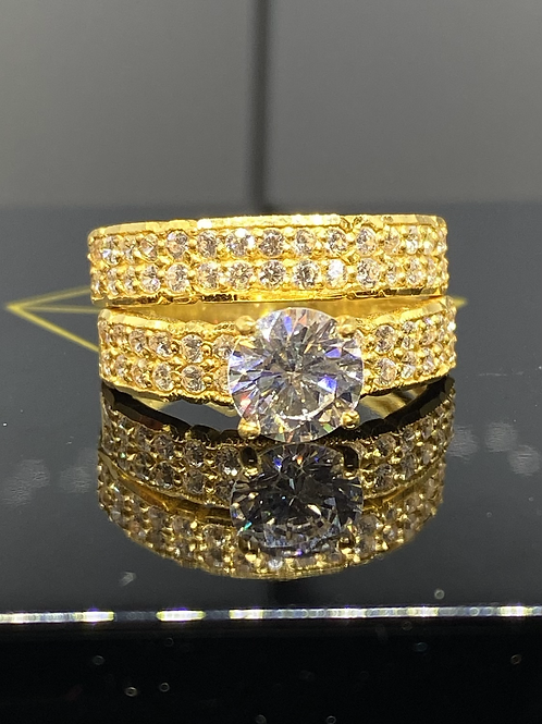 Design 55 Double Band Clear Stone 22 carat Ring