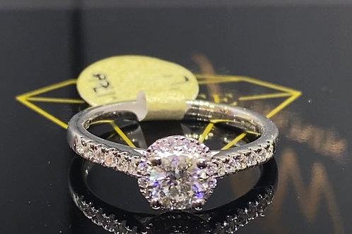Single Halo Diamond Ring Round Solitaire